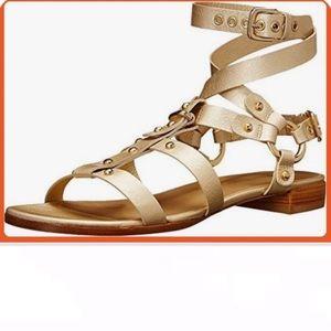 Stuart Weitzman on the run gold gladiator sandals